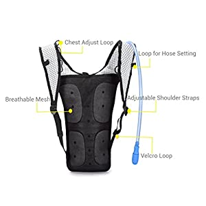 Hydration Backpack With 2L BPA FREE Bladder - Lightweight Pack Keeps Liquid Cool Up to 4 Hours - Great Storage Compartments - Outdoor Sports Gear for Running Hiking Cycling Skiing (Blue Zipper)