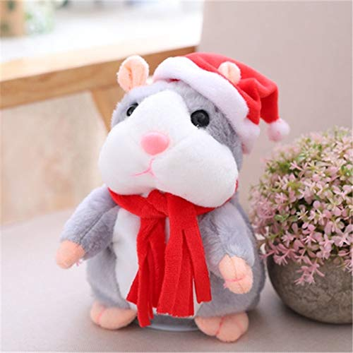 Animals Woodland Plush Duck - Talking Hamster Talking Stuffed Plush Animals Talking Hamster Mouse Pet Christmas Toy Speak Talking Sound Record Hamster Educational Plush Toy for Children Christmas Gift (Xmas Gray)
