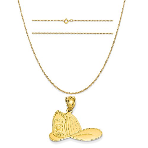 14k Yellow Gold Large Firefighter Hat Pendant on a 14K Yellow Gold Carded Rope Chain Necklace, (14k Firefighter Pendant)