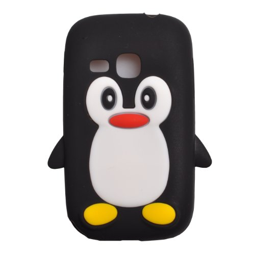 Einzige Slim Fit Flexible TPU Silicone Skin Cover Case for Samsung Galaxy Young S6310N Galaxy Young DUOS S6312 with Premium Universal Stylus/Pen (Black Penguin)