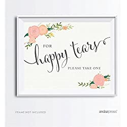 Andaz Press Wedding Party Signs, Floral Roses Print, 8.5x11-inch, For Happy Tears Tissue Kleenex Ceremony Sign, 1-Pack