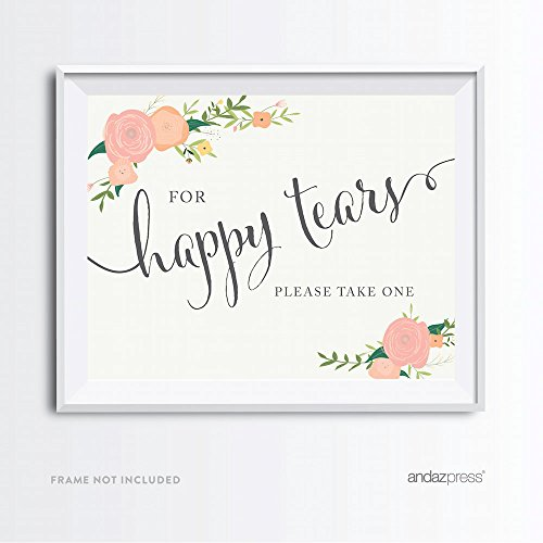 Andaz Press Wedding Party Signs, Floral Roses Print, 8.5x11-inch, For Happy Tears Tissue Kleenex Ceremony Sign, 1-Pack, Unframed ()