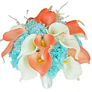 Lily Garden Real Touch Calla Lily Coral and White and Carnation Turquoise Flowers Wedding Bouquet (Bridal Bouquet) 30