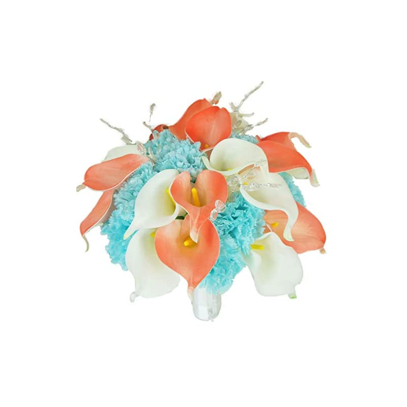silk flower arrangements lily garden real touch calla lily coral and white and carnation turquoise flowers wedding bouquet (bridal bouquet)