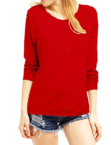 (Haola Women's Long Sleeve Tops Round Neck Casual Teen Girls Tees Loose T Shirts XXL Red)