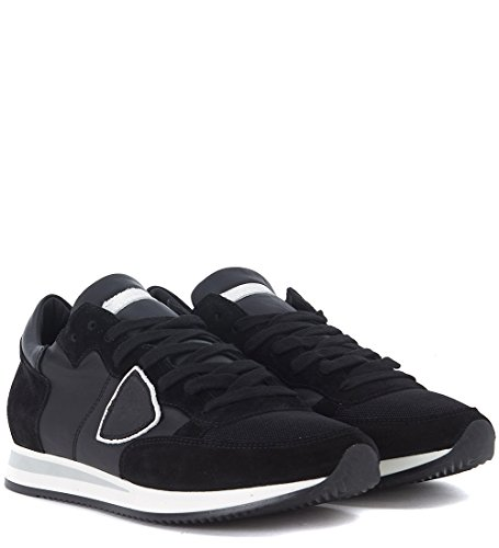 Philippe Model Tropez Black Suede and Leather Sneaker Black best cheap online buy cheap reliable finishline p0EtavcB