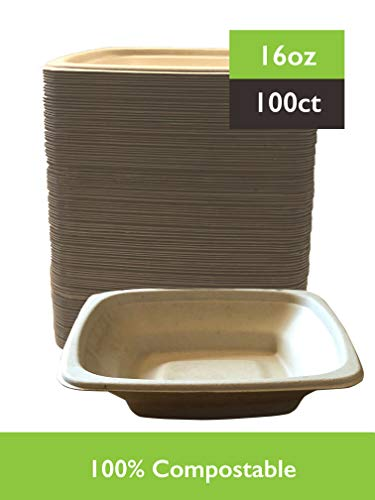 Select settings [100 COUNT] Microwaveable, compostable light brown square bowls (16 oz.) made from bagasse (sugarcane fiber) (Bowls Square)
