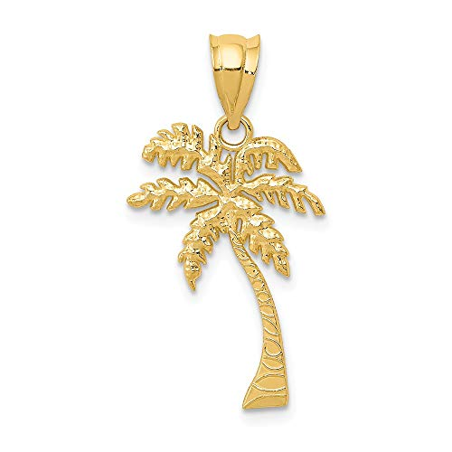 14k Yellow Gold Mini Palm Tree Pendant Charm Necklace Sea Shore Man Fine Jewelry Gift For Dad Mens For Him ()
