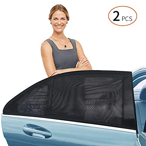 Delicacy Car Rear Side Window Sun Shade, Maximum Protect Your Baby and Kids from The Sun,UV Rays,Universal Car Mosquito Net Car Curtains Fits Most Models,Might not fit SUV's(2 - Window Side Rear Sunshade
