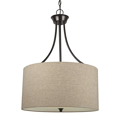 Sea Gull Lighting 65953-710 Stirling Three-Light Pendant with Satin Etched Glass Diffuser and Beige Linen Fabric Shade, Burnt Sienna Finish (3 Light Stirling)