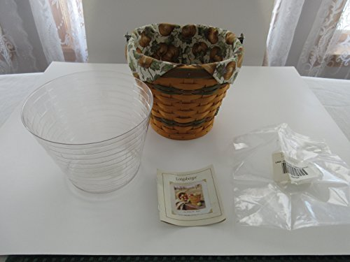 Longaberger Autumn Pail Basket SAGE 2002 with Pumpkin Patch Fabric Liner and Clear Plastic Insert