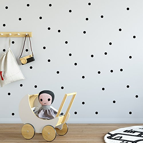 Black mini polka dot wall decals, Easy Peel and Stick fully removable vinyl stickers, 1