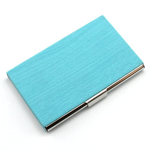 Partstock(TM) Fashion Wood Grain PU Leather & Stainless steel Business Name Card Holder Wallet Credit card ID Case / Holder 22 Name Cards Case.(Blue) ()