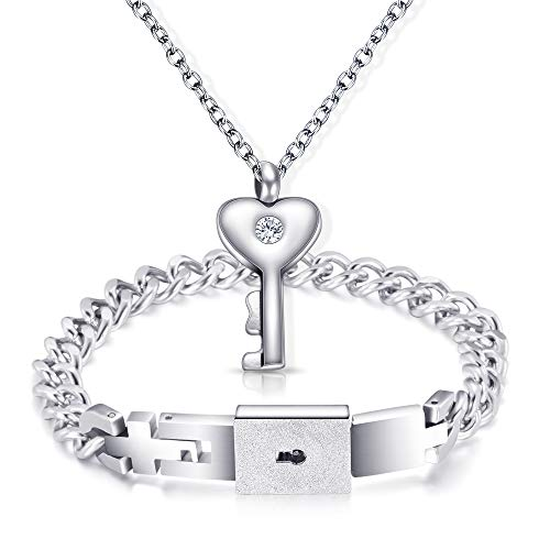 NIBASTAR His Hers Love Heart Key Lock Bangle Bracelet Tag Pendat Necklace Set in a Gift Box]()