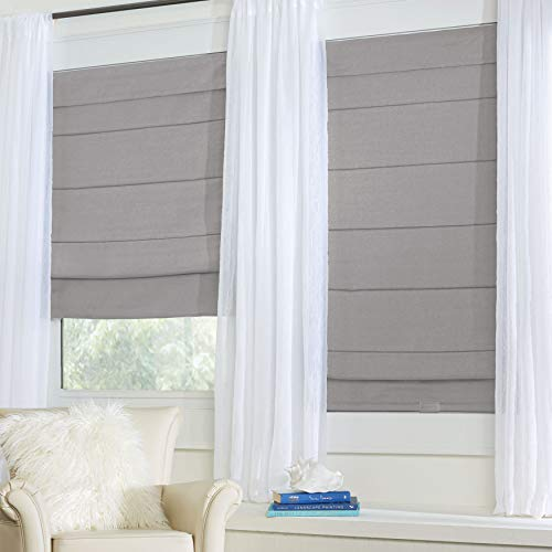 BrylaneHome Cordless Large Fold Woven Blackout Roman Shade - Silver, 36I W 64I L (Window Shade Pole)