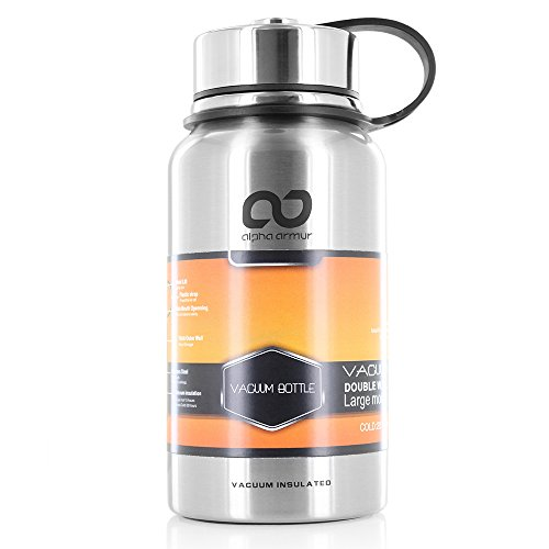 Alpha Armur 20 Oz (610ml) Double Wall Vacuum Insulated Stainless Steel Water Bottle with Wide Mouth, Silver