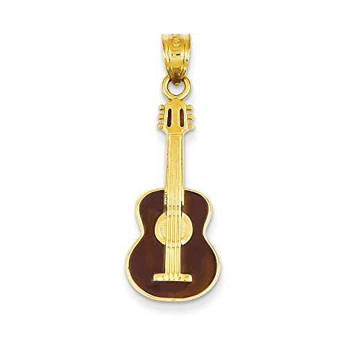 14k Yellow Gold Enameled Guitar Pendant 32mm Length