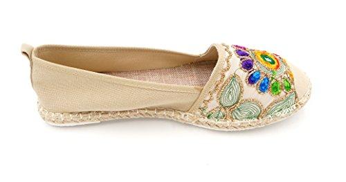 Beige Glitzer Style Ornamente Blumen Espadrille Creme Stickerei Ballerina gold Halbschuhe Slipper Damen Schuhe 8494 bunt Retro gZtqng