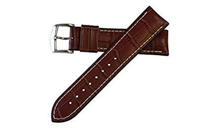 Hirsch Performance George Calfskin Leather Alligator Embossing Watch band w/Rubber Lining Gold Brown w/White Stitching 24mm from Hirsch