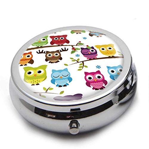 Round Stainless Steel Pill Box Case - Cute Cartoon Owl- Pocket 2 inches Medicine Tablet Holder Organizer Case for Purse - Compact 3 - Medicine Compact