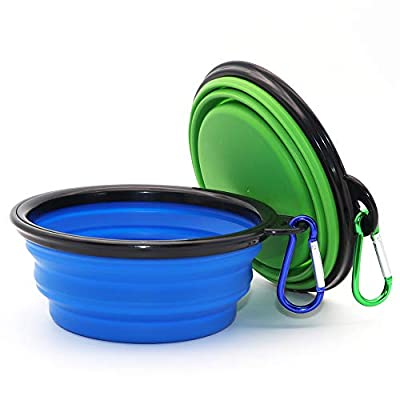 Collapsible Dog Bowl, 2 Pack Collapsable Dog Water Bowls for Cats Dogs, Portable Pet Feeding Watering Dish for Walking Parking Traveling with 2 Carabiners (Small, Blue+Green)