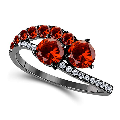 Silver Gems Factory Women's Forever US Two Stone Ring 14k Gold Plated Alloy 1.50 Ct Round CZ Garnet & Cubic Zirconia Bypass Couple Ring
