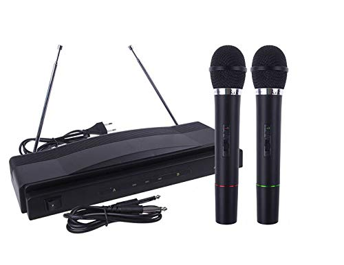 2Pcs Wireless Microphone, Handheld Dynamic Microphone Wireless Mic System for Karaoke Nights and House Parties to Have Fun Over The Mixer,PA System,Speakers (AS Shown)