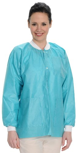 ValuMax 3530TES Easy Breathe Cool and Strong, No-Wrinkle, Professional Disposable SMS Hip Length Jacket, Teal, S, Pack of 10