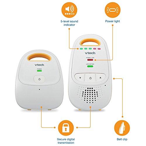 VTech DM111 Audio Baby Monitor with up to 1,000 ft of Range, 5-Level Sound Indicator, Digitized Transmission & Belt Clip (Renewed) by VTech (Image #5)