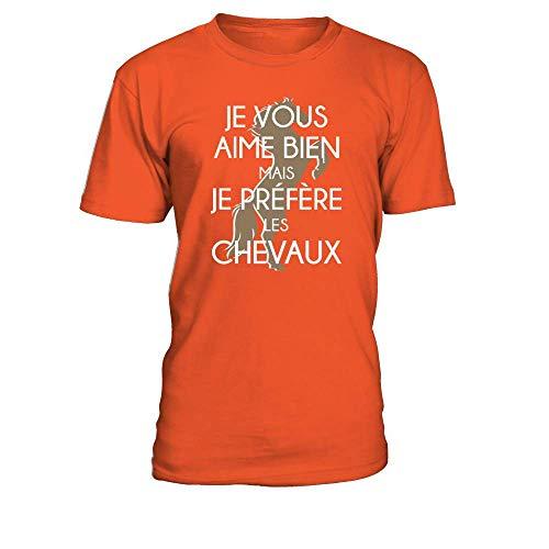Aime T Chevaux Mais Homme Teezily Les shirt Bien Préfère Je Vous Orange vXwvRqd