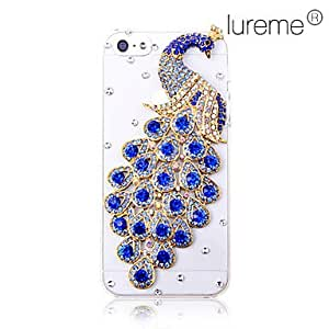 ZL Fashionable Zircon Peacok Pattern Hard Case for iPhone 5/5S(Assorted Colors) , Blue