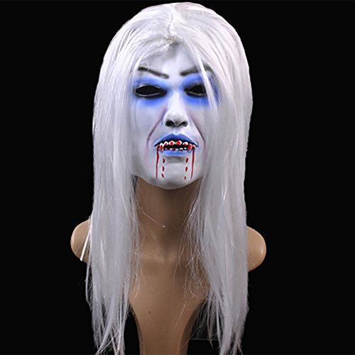 Yarssir Horror Zombie Halloween Mask Scary Grimace Ghost Latex Mask with White Hair Emulsion Skin