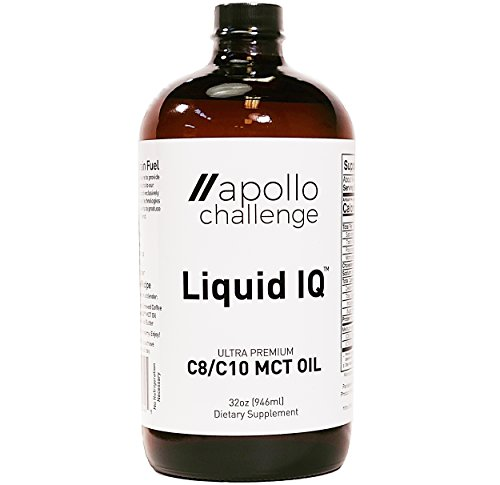 Liquid IQ - Ultra Premium C8/C10 MCT Oil | Organic Coconut Energy Drink for Mental Performance and Fat Loss - 32oz Glass Bottle