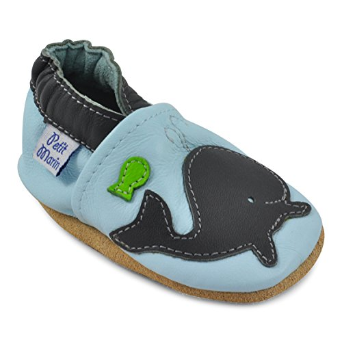 Petit Marin Beautiful Soft Leather Baby Shoes - Crib Shoes with Suede Soles
