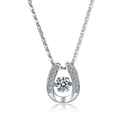 - Jenny.Ben Women's Sterling Silver Necklace Micro-Set AAA Zircon u-Shaped Horseshoe Beating Heart Fashion Necklace@Beating Heart Necklace (with a Cross Chain)_30% Silver