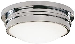 product image for Robert Abbey C1316 Flush Mounts with White Frosted Glass Shades, Polished Chrome Finish
