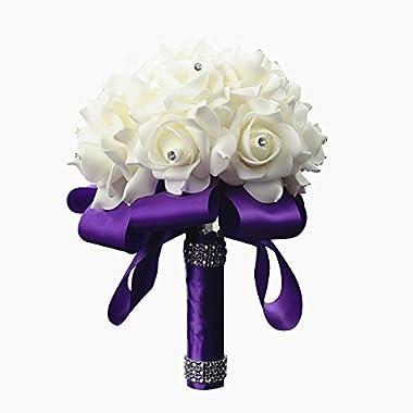StillCool Wedding Bouquets Crystal Pearl Silk Roses Bridal Bridesmaid Wedding Hand Bouquet Artificial Fake Flowers (18cm24cm, Purple)