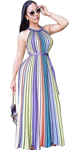 Sexy Sleeveless Colorful Rainbow Striped Stripe Waist Belt Belted Long Maxi A-Line Column Dress (Rainbow Belted Belt)