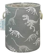 LANGYASHAN Laundry Basket Canvas Collapsible Organizer Storage Basket for Boys Girls Laundry Hamper Toy Bins Gift Baskets Bedroom Clothes Children Nursery (Gray Dinosaur Skeleton)