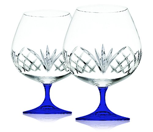 Dublin Reserve Brandy Set of Two Crystal Glasses - Bottom Color Cobalt Blue - Additional Vibrant Colors Available by TableTop King
