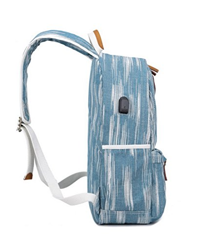 "Acmebon Unisex Vintage Canvas Backpack with USB Charge Port Fashion 15.6"" Laptop Rucksack Retro Blue by Acmebon (Image #3)"