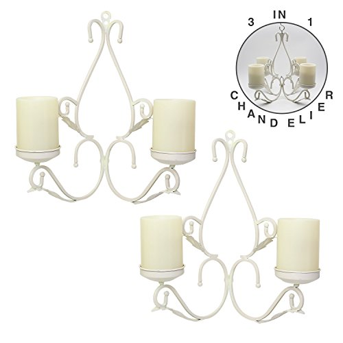 3 IN 1 Lighting Chandelier, Metal Wall Sconce Set of 2, Table Centerpiece for Indoor or Outdoor, Candles Included, White - White Metal Chandelier Candle Holder