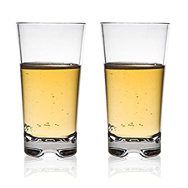 MICHLEY Classic Unbreakable Water Tumblers, Restaurant-quality PC Cup, Water Glasses 12 oz, Set of 4