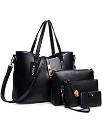 Fashion Women's PU Leather Handbag+Shoulder Bag+Purse+Card Holder 4pcs Set Tote