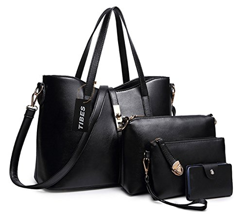 Tibes Fashion Women's PU Leather Handbag+Shoulder Bag+Purse+Card Holder 4pcs Set Tote Black