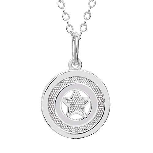America Pendant Jewelry - Marvel Offically Licensed Jewelry for Women and Girls Captain America Superhero Logo Sterling Silver Pendant Necklace, 18