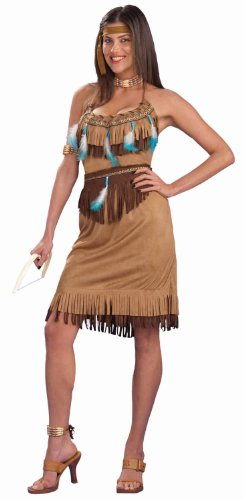 Indian Outfit (Forum Novelties Women's Pow-Wow Princess Costume, Brown, Standard)