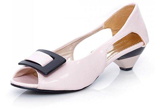 del Patente Señoras 31 de los Colores Patrones la los Sandalias de de Hebilla Las el de Múltiples del la Huecos 3cm 43 Las pink Sandalias Verano Calzan Trabajo NVLXIE Cuadrado qRIwOx