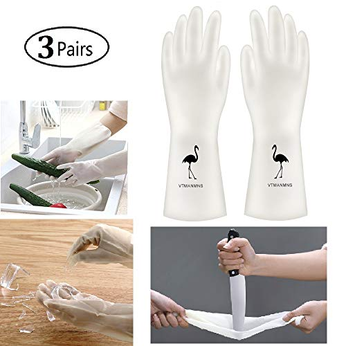 Rubber Gloves for Household Cleaning Gloves, Durable Kitchen PVC  Gloves for Dishwashing Waterproof and Latex-free (3 Pairs) (PVC01-Flamingo, M)