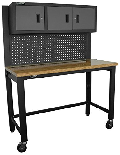 K&H Manufacturing Collapsible Wood Top Reloading Bench with 3 Door Steel Cabinet, 59